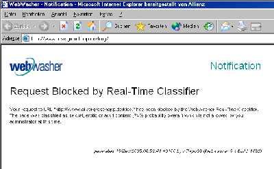 Geblockte Homepage